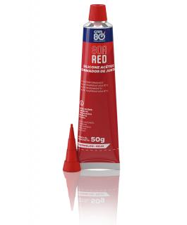 SILICONE VERMELHO 50G - SILICONE ACÉTICO RED (VERMELHO), RESISTENTE A ALTAS TEMPERATURAS DO TIPO RTV (VULCANIZA A TEMPER SUN